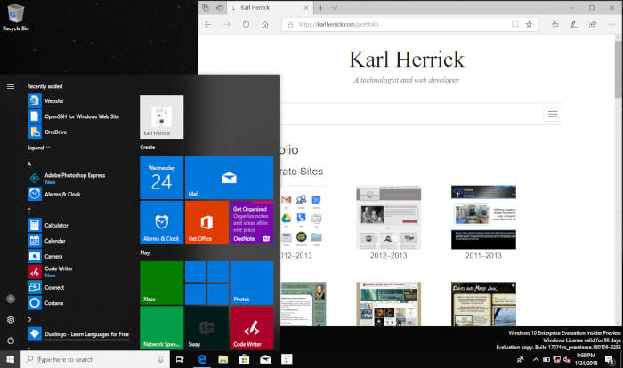 Offline HTML powered by a service worker on Microsoft Edge / Windows 10 Insider Preview