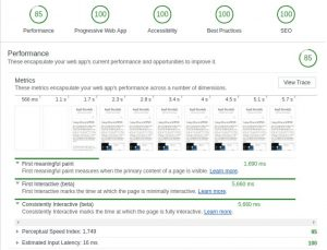 Screenshot of audit tab in Chrome of Lighthouse performance testing