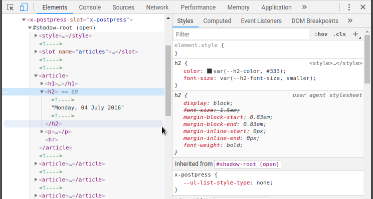 x-postpress screenshot in the devtools