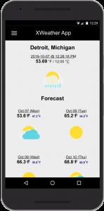 XWeather App Detroit Forecast